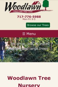 Woodlawn Trees website home page on mobile