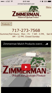 Zimmerman Mulch Products home page - mobile