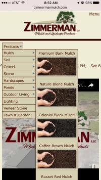 Zimmerman Mulch Products dropdown image menu - mobile