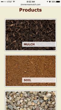 Zimmerman Mulch Products page - mobile