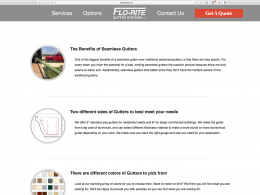 Flo-Rite Gutter options page - Desktop