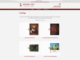 Memory Lane Furniture catalog page on desktop