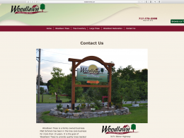 Woodlawn Trees website contact us page on desktop