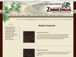 Zimmerman Mulch Products page - desktop